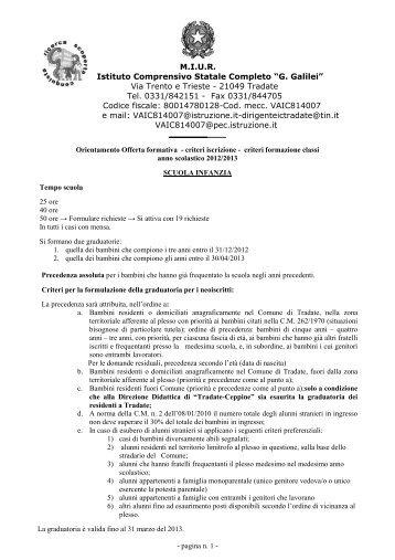 """Criteri iscrizione 2012-2013 - I.C. """"G. Galilei"""" Tradate"""