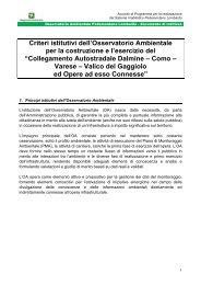 Criteri istitutivi dell'Osservatorio Ambientale per la costruzione e l ...