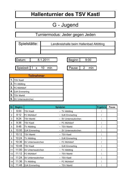 Hallenturnier des TSV Kastl G - Jugend