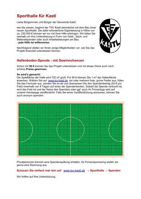 Infoblatt - beim TSV-Kastl
