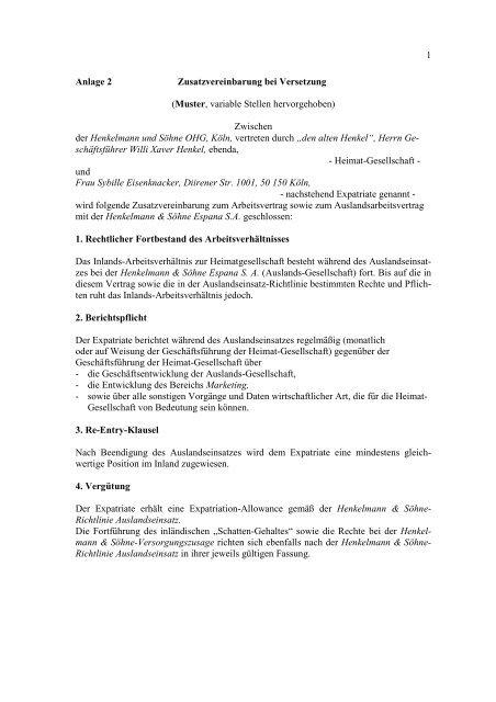 Zusatzvereinbarung Bei Versetzung