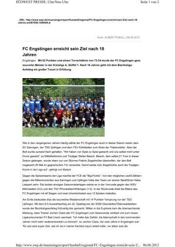 Bericht Alb-Bote über FC Engstingen - TSV Kleinengstingen