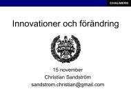 Economics of Innovation Course Introduction - Christian Sandström