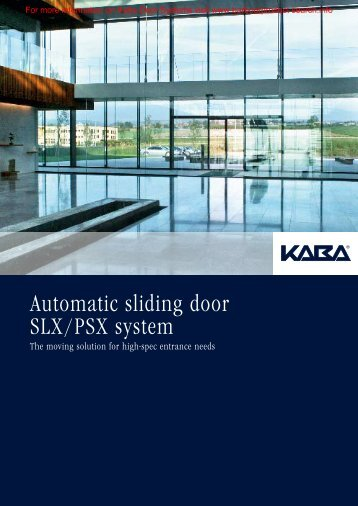 Automatic sliding door SLX/PSX system - Barbour Product Search