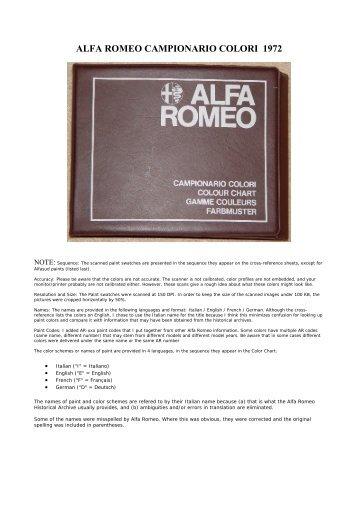 alfa romeo campionario colori 1972 - The Alfa Romeo Montreal ...