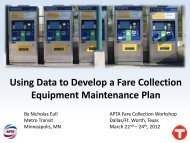 Using Data to Develop a Fare Collection Equipment Maintenance Plan