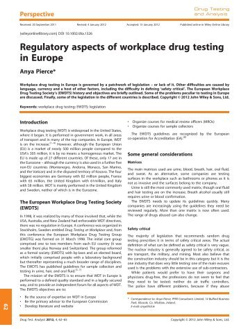 Regulatory aspects of workplace drug testing in Europe