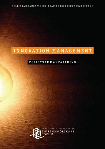 INNOVATION MANAGEMENT - Entreprenörskapsforum