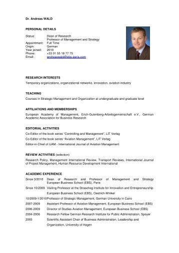 Dr. Andreas WALD PERSONAL DETAILS Status: Dean ... - EBS Paris