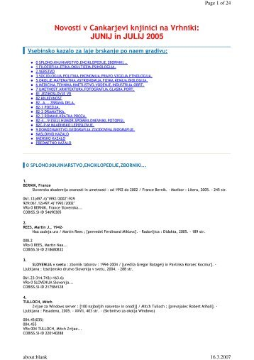 Novosti v Cankarjevi knjinici na Vrhniki: JUNIJ in JULIJ 2005
