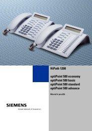 Návod optiPoint 500 ec., bas., st., adv. pro HiPath 1200 V2.0