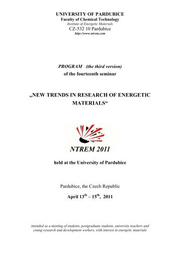 new trends in research of energetic materials - NTREM.com