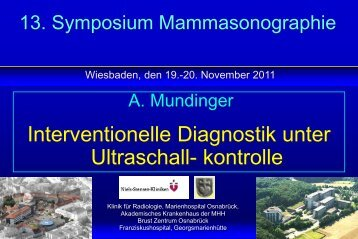 Interventionelle Diagnostik unter Ultraschall- kontrolle