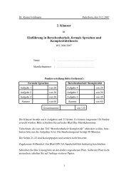 2. Klausur in Einf¨uhrung in Berechenbarkeit, formale Sprachen und ...