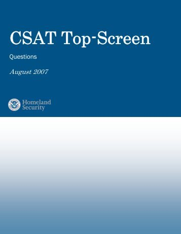 Chemical Security Assessment Tool Top-Screen Questions ... - NERA