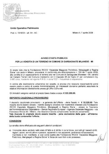 Garbagnate Milanese (757Kb) - Ospedale Maggiore Policlinico
