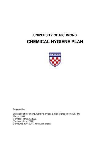 CHEMICAL HYGIENE PLAN - Safety Services & Risk Management ...