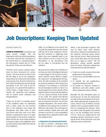 Job Descriptions - Keeping Them Updated - Church Admin Pro