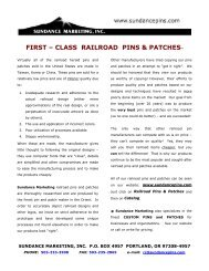 CATALOG - COVER PAGE - Sundance Marketing First-Class Pins