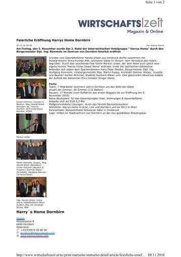 Bericht Wirtschaftszeit Eröffnung HH Dornbirn ... - Harry's Home Hotels