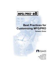 Best Practices for Customizing MFG/PRO - QAD.com