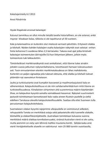 Kalastajaristeily 6.2 2013 Anssi Päivärinta Hyvää iltapäivää ... - Livia