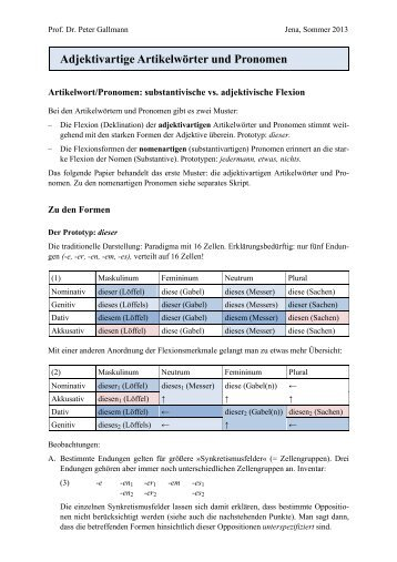 Adjektivartige Artikelwörter und Pronomen