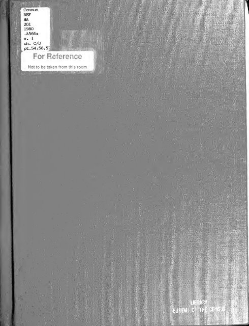 1980 census of population. Characteristics of the ... - Census Bureau