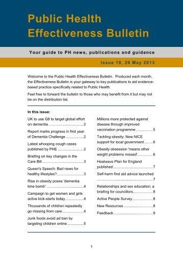 Public Health Effectiveness Bulletin