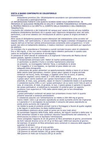 DIETA A BASSO CONTENUTO DI COLESTEROLO INDICAZIONI ...
