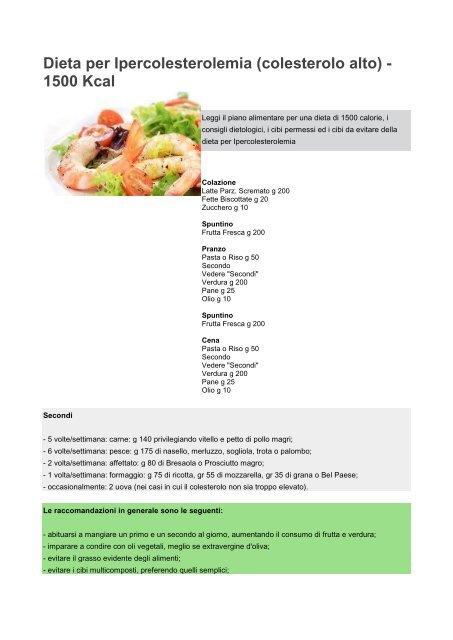 colesterolo alto con una dieta sana