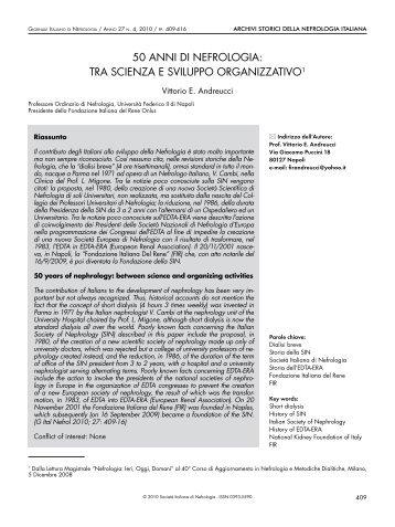 tra scienza e sviluppo organizzativo - Società Italiana di Nefrologia