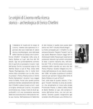 Le origini di Livorno nella ricerca storico - archeologica - Comune di ...