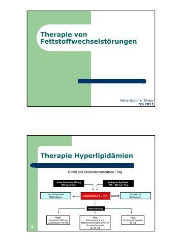 Therapie von Fettstoffwechselstörungen Therapie Hyperlipidämien