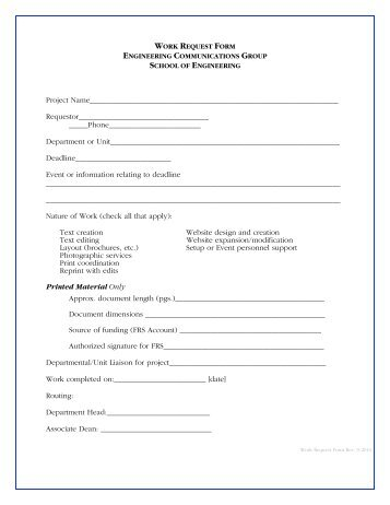 Work Order Request Form Instructions