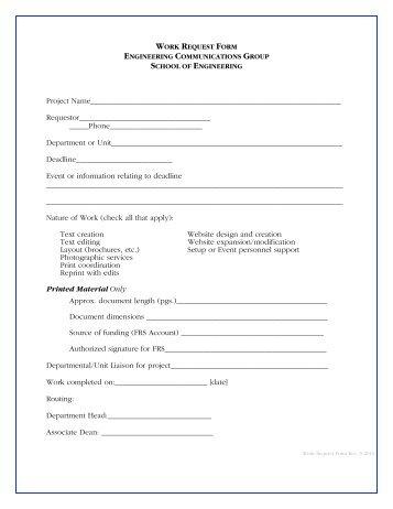 Work Request Form   School Of Engineering   University Of .