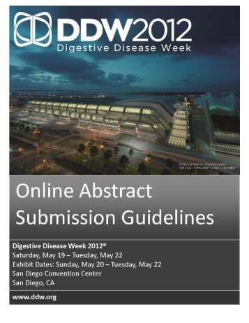 DDW 2012 Abstract Submission Guidelines - DDW 2008