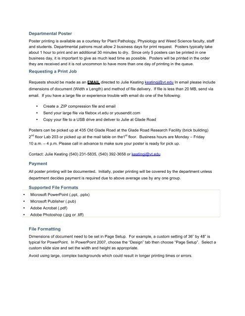 Departmental Poster Printing Guidelines - Department of