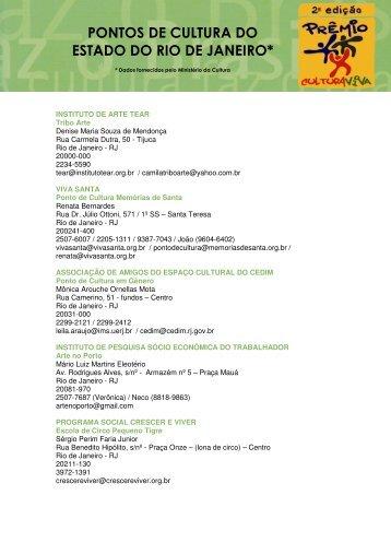 pontos de cultura do estado do rio de janeiro - Prêmio Cultura Viva