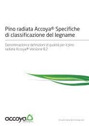 Pino radiata Accoya® Specifiche di classificazione del legname