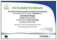 EU Ecolabel Certificate - Ceramiche KEOPE