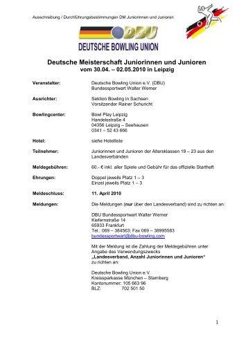 Deutsche Meisterschaft Juniorinnen und Junioren - USC Bowling ...