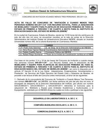 Fallo 005 2011 IEBEM - Gobierno del Estado de Morelos