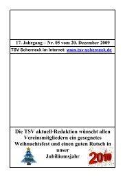 17. Jahrgang – Nr. 05 vom 20. Dezember 2009 - TSV Scherneck