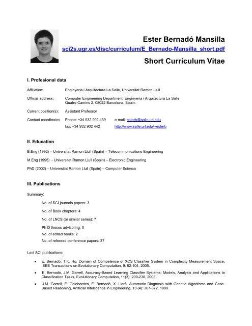 Ester Bernado Mansilla Short Curriculum Vitae Sci2s
