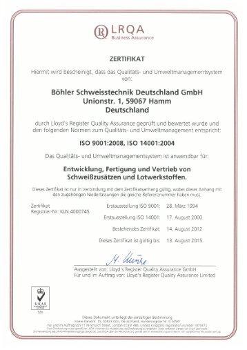 LRQA - UTP Schweissmaterial