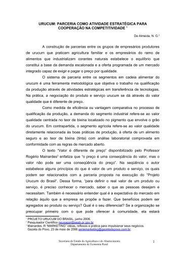 urucum - Secretaria da Agricultura e Abastecimento - Estado do ...