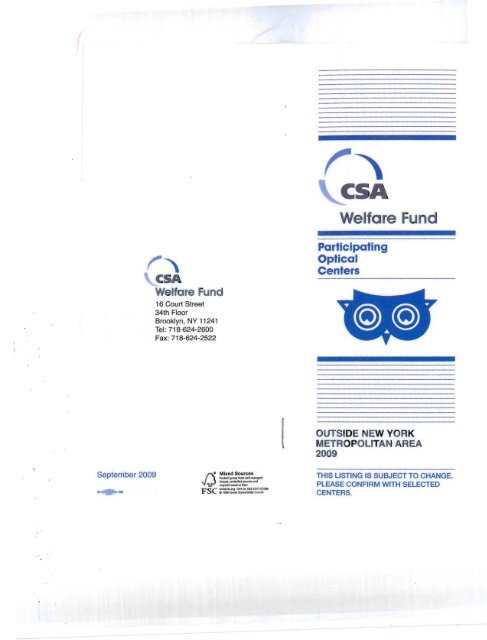 4c2e4147edc Participating Optical Providers - CSA Welfare Fund