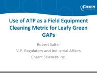 Use of ATP as a Field Equipment Cleaning Metric for Leafy Green ...