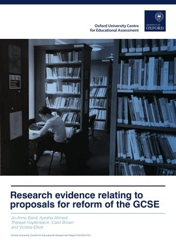 Research evidence relating to proposals for reform of the GCSE